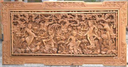 South East Asian Temple Carving in Frame