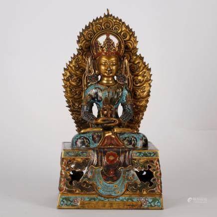Chinese Cloisonne Enamel Buddha, Qianlong Mark