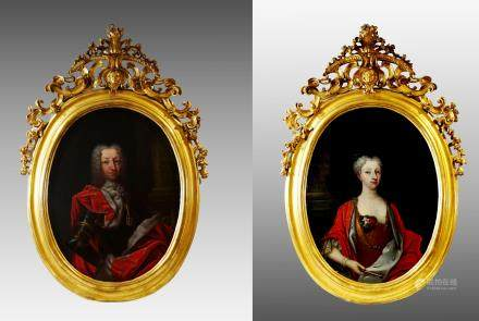 PORTRAITS OF CHARLES EMMANUEL III AND ELISABETH THERESE OF LORRAINE