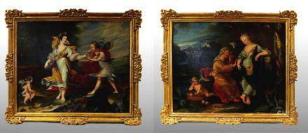 PAIR OF PAINTINGS DEPICTING ALLEGORICAL SUBJECTS