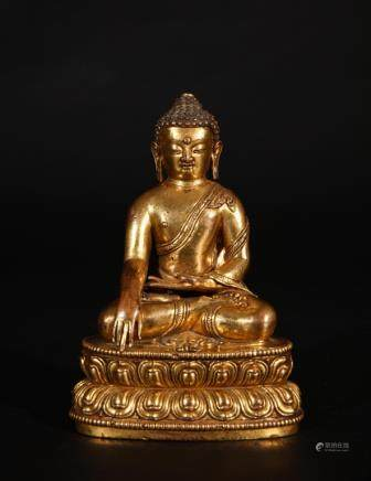 FINE TIBET GILT BRONZE FIGURE OF BUDDHA SHAKYAMUNI