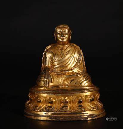 CHINESE FINE TIBET GILT BRONZE FIGURE OF LAMA