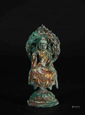 A CHINESE GILT BRONZE FIGURE OF BUDDHA SHAKYAMUNI