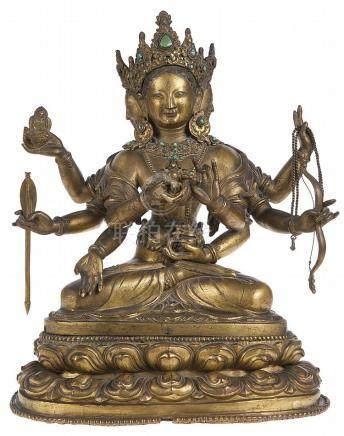 *Usnisavijaya. Verguld brons bezet met turkoois. Werk uit Ti