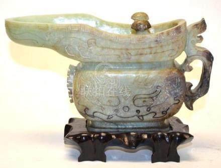 Chinese Jadeite Urn with Stand