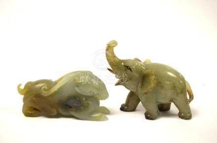 Two Chinese Jade Animals