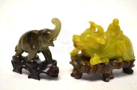 Two Chinese Carved Animals on Wood Stand