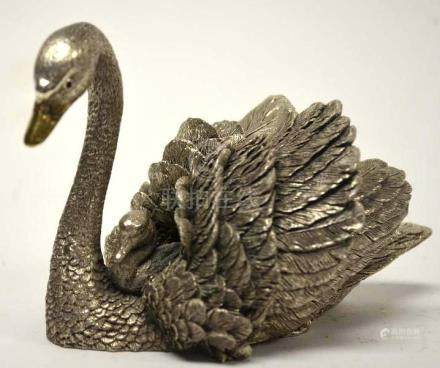Sterling Silver Statue of A Swan. Weighted