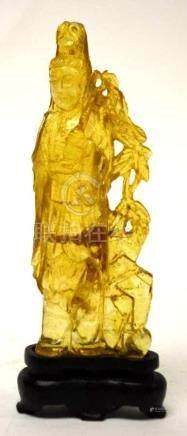 Carved Amber Standing Guan Yin