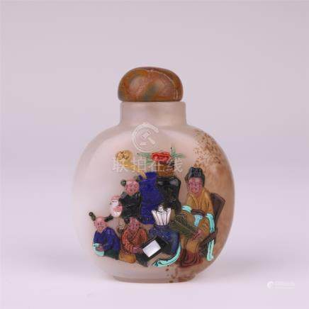 CHINESE GEM STONE INLAID AGATE SNUFF BOTTLE