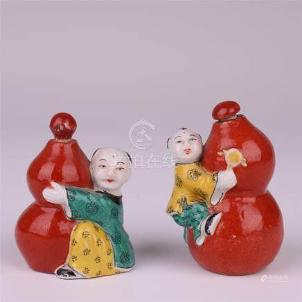 CHINESE PORCELAIN FAMILLE ROSE RED GLAZED BOY GOURD SNUFF BOTTLE