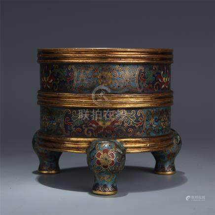 CHINESE CLOISONNE TRIPLE FEET CYLINDERIAL CENSER
