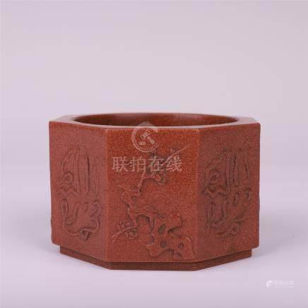 CHINESE YIXING ZISHA CLAY OCTAGONAL BRUSH WASHER