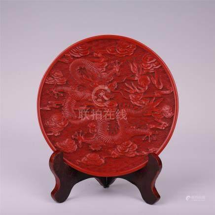 CHINESE CINNABAR DRAGON PLATE