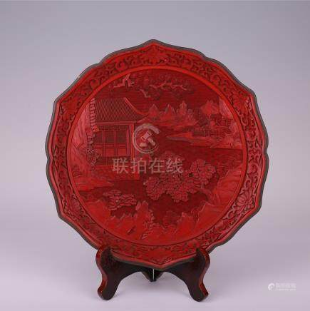 CHINESE CINNABAR MOUNTAIN VIEWS FLOWER SHAPED PLATE