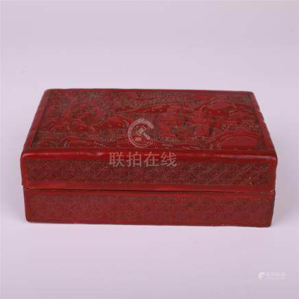 CHINESE CINNABAR LIDDED SQUARE BOX
