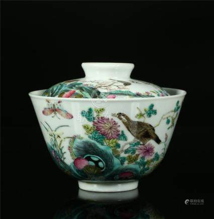 A CHINESE FAMILLE ROSE PORCELAIN CUP AND COVER