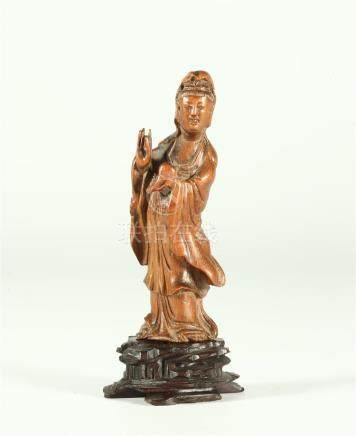 A CHINESE BAMBOO FIGURE OF GUANYIN