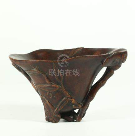A CHINESE BAMBOO LIBATION VESSEL