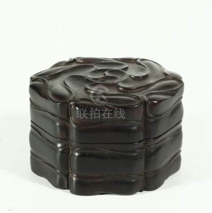 A CHINESE ZITAN HEXAGONAL BOX