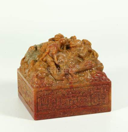 A CHINESE SOAPSTONE IMPERIAL SEAL
