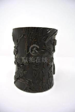 Chinese Carved Hardwood Brushpot
