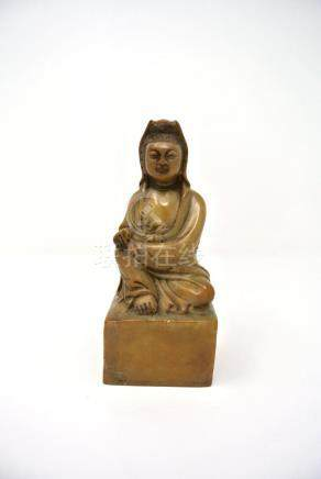 Chinese Carved Hardstone Statue of Seated Figure