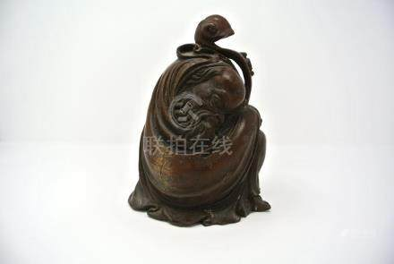 Chinese Carved Bamboo Statue of an Old Man
