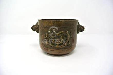 Chinese Antique Bronze Burner with Dragon Design
