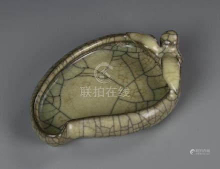 Chinese Ge Yao Leaf Shape Brush Washer