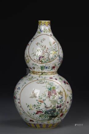 Chinese Famille Rose Hulu Vase