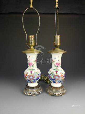 Pair of Chinese Famille Rose Vase Lamp