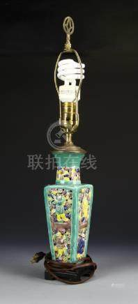 Chinese Famille Rose Vase Lamp with Shade