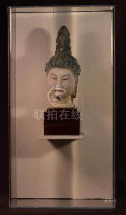 Chinese Pottery Kaunyin Head in Lucite Display Case