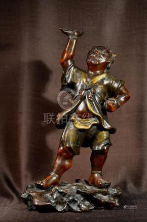 Japanese Mixed Metal Bronze Guardian