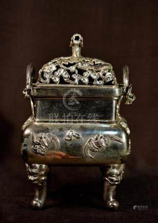 Chinese Bronze Censer with Silver Gilt