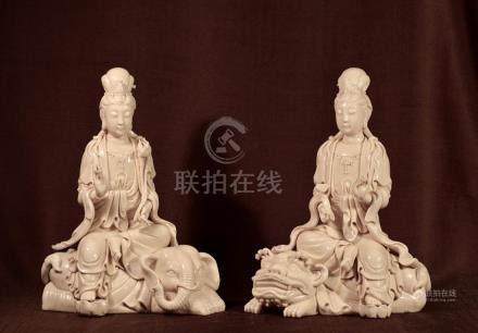 Pair Chinese Dehua Porcelain Kuanyin