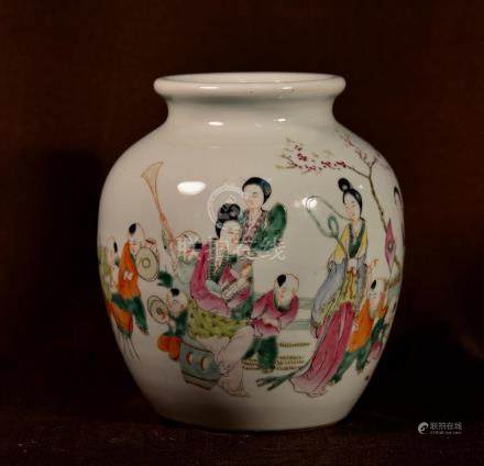 Chinese Ovoid Porcelain Vase with Figural