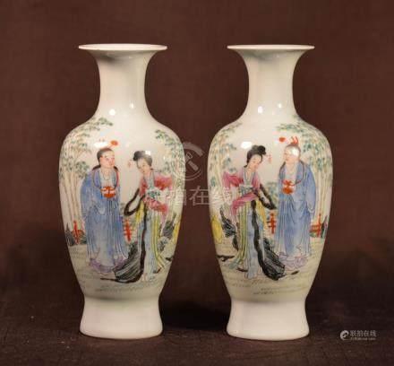Pair Chinese Republic Period Porcelain Vase - Scholars
