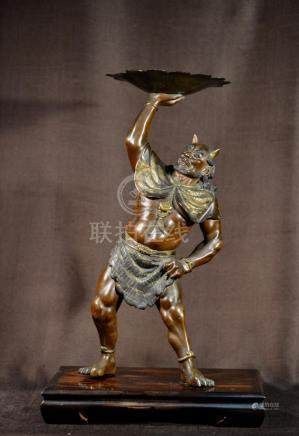 Japanese Mixed Metal Oni on Stand - Signed