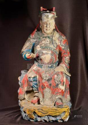 Large Chinese Ming Wood Kuandi with Polychrome