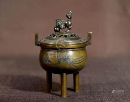Japanese Bronze Censer with Silver Inlay Pheonix