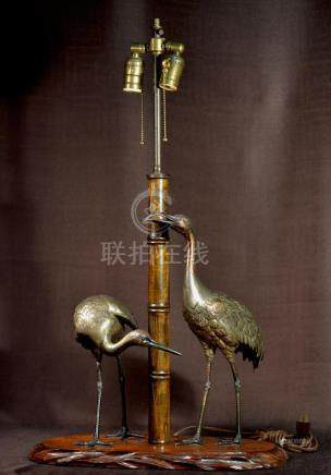 Japanese Brozne Crane and Bamboo Group - Mounted as