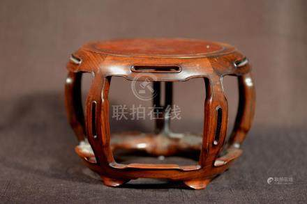 Chinese Rosewood Barrel Shaped Scholar Stand