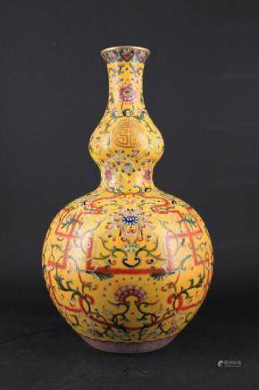 Large Chinese Qing Porcelain Famille Rose Gourd Va
