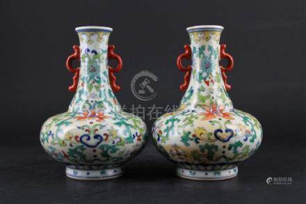 Pair of Chinese Qing Porcelain DouCai Vase