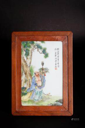 Chinese 20 century famille rose porcelain board with painting
