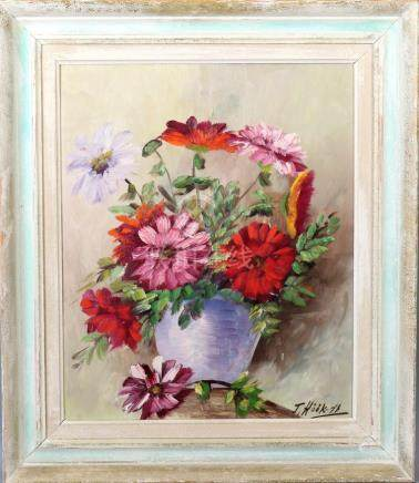 UNIDENTIFIED ARTICLES. Flower still life, oil on the brow, s
