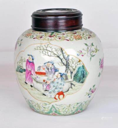 A Chinese Famille Rose Lidded Ginger Jar