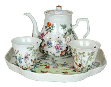 A Chinese Famille Rose Porcelain Part Tea Set